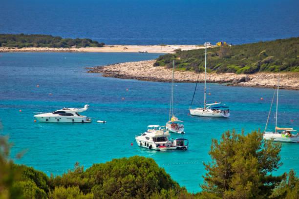 Sakarun plage plaisance baie vue aérienne, l'île de Dugi Otok, Dalmatie, Croatie
