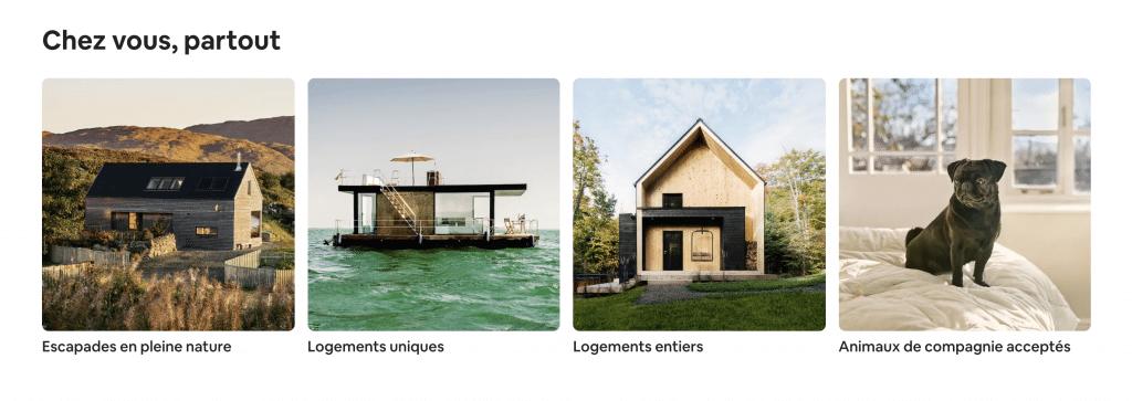 types de logements air b and b